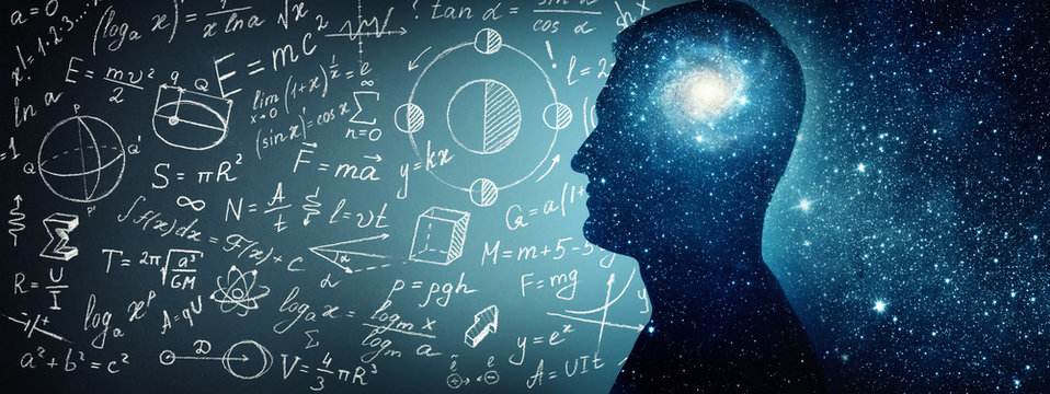 Silhouette of a man inside the universe, physical and mathematical formulas.. The concept on scientific and philosophical topics.  Elements of this image furnished by NASA.