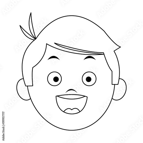 Cartoon Boy Face Black And White