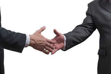handshake of two business men isolated on white background