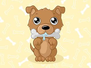Knabbernder Comic Hund