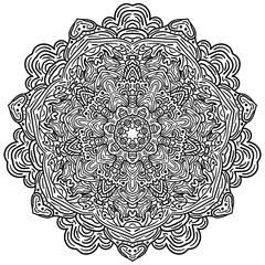 Hand drawn decorative mandala design in black and white