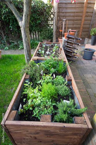 hochbeet im garten an der terrasse stockfotos und lizenzfreie bilder auf bild. Black Bedroom Furniture Sets. Home Design Ideas