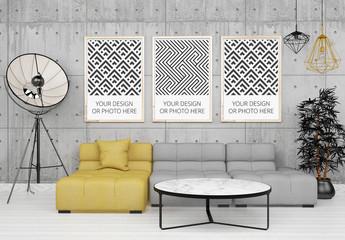 3 Vertical Posters Above Living Room Sofa Mockup