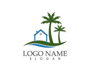 Wave beach holidays logo design concept