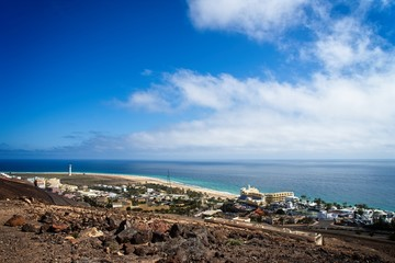 View on a landscape in Morro Jable, Fuerteventura, Spain.