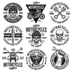 Motorcycles set of nine vector vintage emblems