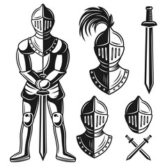 Knights armour vector objects and design elements