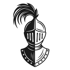 Knight helmet vector monochrome illustration