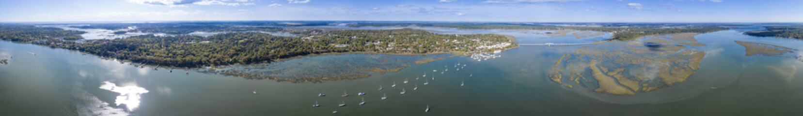 360 degree seamless panorama of Beaufort, South Carolina and surrounding islands.
