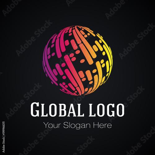 Global logo design, vector template  Color globe symbol