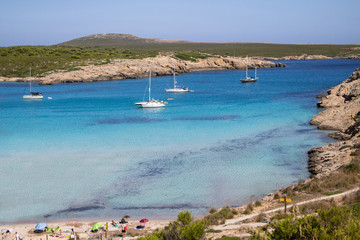 Son Parc beach in Menorca, Spain