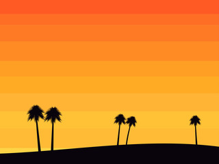 Silhouettes of palm trees on a sunset background in the style of the 80s. Tropical sunrise or sunset. Vector illustration