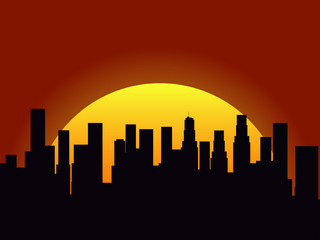 City landscape on a sunset background. Silhouette of skyscrapers and high-rise buildings. Sunrise or sunset. Vector illustration