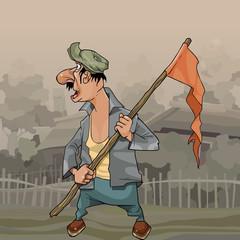 cartoon man with flag on stick in village