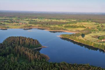 Masurische Seenplatteim Luftbild