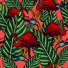 Seamless pattern of pink flamingos and flowers. Strelitzia and tropical birds. Summer. Exotic nature. Colorful background.