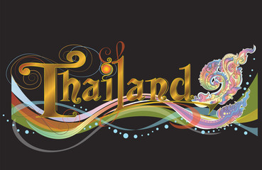 Thailand sign banner vector fusion art with Europe classic style design unique and difference