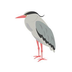 Cartoon heron icon on white background.