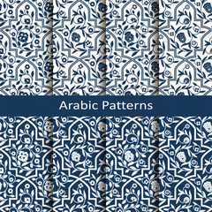 set with eight vector arabic blue patterns with floral ornament. design for packaging, textile, interior