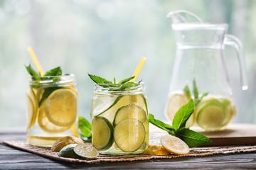Lemonade with lemon and mint