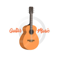 Classical acoustic guitar. Isolated silhouette classic guitar.