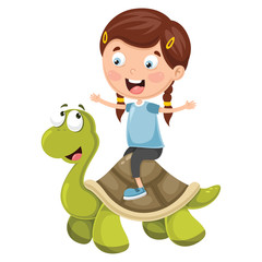 Vector Illustration Of Cartoon Kids With Turtle