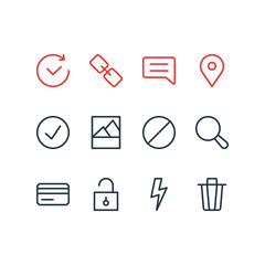 Vector illustration of 12 app icons line style. Editable set of credit card, comment, trash can and other icon elements.