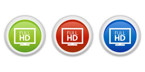 rundes Button Set grün rot blau - Full HD