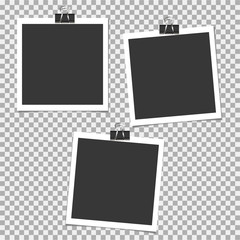 Set of photo frame with clip on grey background. Vector template