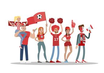 Football fans set.