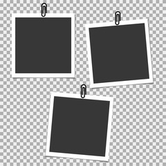 Photo frame with clip on grey background. Vector template