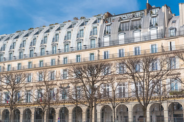 Paris, beautiful building in the center, typical parisian facade, rue de Rivoli