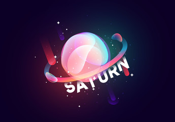 Saturn planet bright abstract illustration. Space theme art background