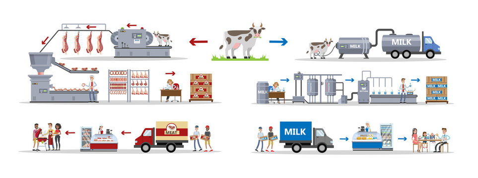 Milk and meat factory.
