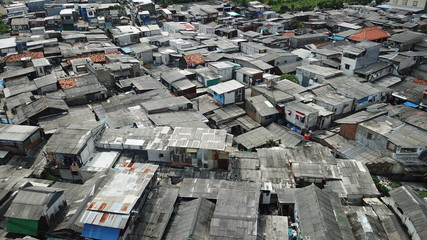 Rooftop of crowded slum houses