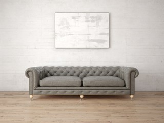 Mock up a modern living room with a stylish sofa and a light background.