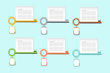 The infograph of six colorful keys with a hanging tag and blank white rectangle labels above them ready for your text.