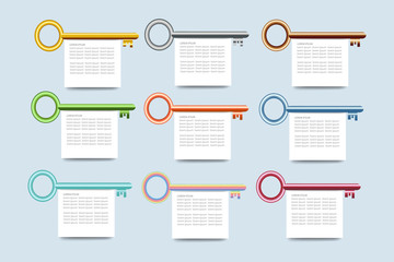 The infograph of nine colorful keys with blank white rectangle labels below them ready for your text.