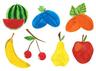 fruit set, gouache paint