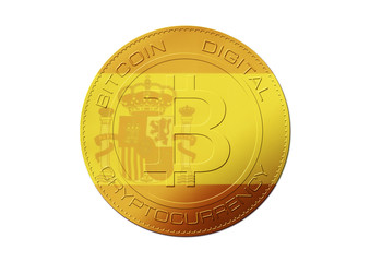 Bitcoin gold coin. Virtual cryptocurrency concept with Spain flag on white background.