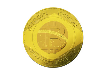 Bitcoin gold coin. Virtual cryptocurrency concept with Brazil flag on white background.