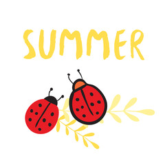 Summer print with ladybirds. Inspirational poster and card, print for pillows