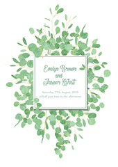 Vector floral design card with watercolor eucalyptus tree green leaves branch plant greenery. Natural botanical Greeting wedding invitation invite. Square Frame border & copy space