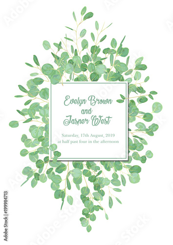 15d4feeaa7f3 ... watercolor eucalyptus tree green leaves branch plant greenery. Natural  botanical Greeting wedding invitation invite. Square Frame border   copy  space