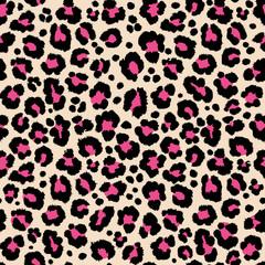 Jungle exotic safari leopard pattern texture repeating seamless pink black print