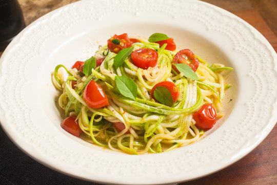 Zucchini Spaghetti with cherry tomatoes