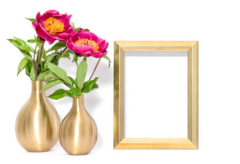 Golden picture frame pink peony flowers