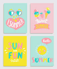 Beautiful set of bright summer cards with ice cream, sun with a bubble and handdrawn lettering and other fun elements. Perfect for summertime posters, banners, gift,print. Vector illustration.