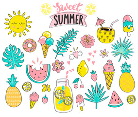 Set of sweet summer hand drawn elements (sun,tropical leaves,drinks,ice cream,watermelon,pineapple) for holiday,travel,beach vacation.Great for web,card,poster,invitation,sticker.Vector illustration.