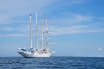 Big sailboat sailing on the sea